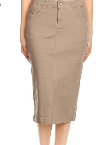 Denim Skirt -Khaki Twill 77418