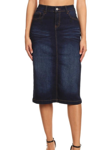 Denim Skirt Mid Indigo Wash 77239B