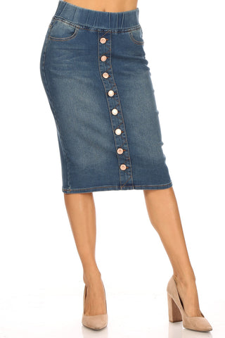 Denim Skirt Elastic Waist 77803