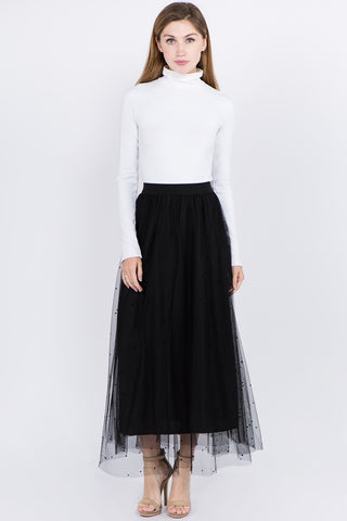 Black Dot Mesh Skirt