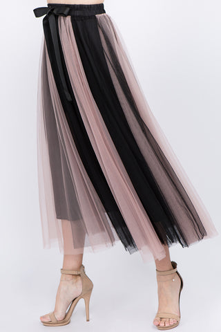 Blk/Mauve Vertical Stripe Tulle Skirt