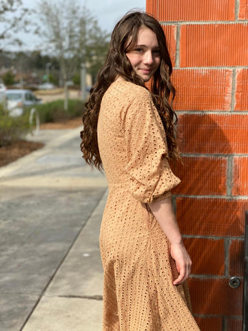 Butterscotch Eyelet Dress