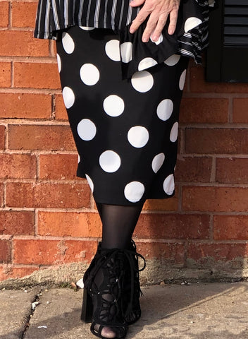 Pencil Skirt - Black Dot