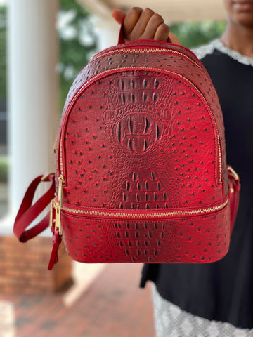 Red Faux Ostrich Backpack