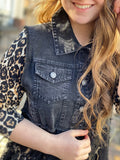 Black Denim Vest w/Black Lace