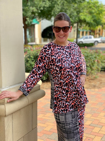 Reese Top - Gray Plaid/Coral Cheetah