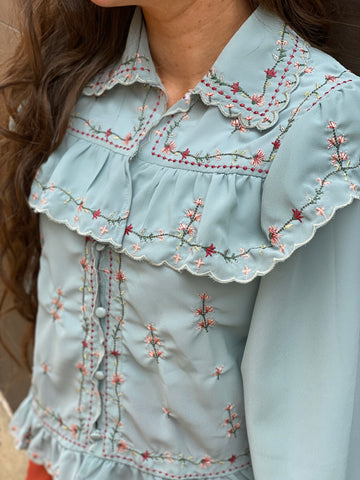 Sage Embroidered Ruffle Top