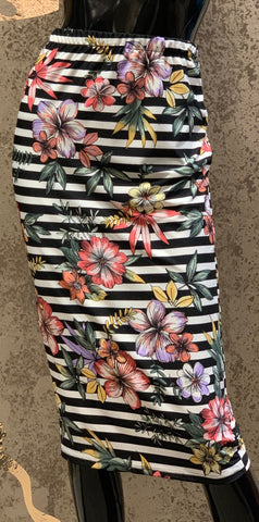 Pencil Skirt -Black Floral Stripe
