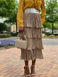 Layered Crinkled Skirt-Mini Leopard Print