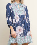 Blue Floral Mix Keyhole Tunic Top