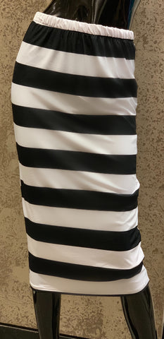 Pencil Skirt -Black White Wide Stripe