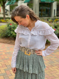 Taupe Stripe Ruffled Top