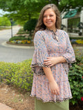 Dusty Pink Chiffon Top With Leopard Accent Trim
