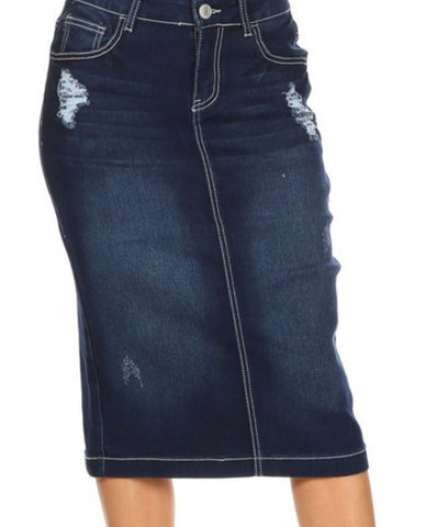Denim Skirt Dark Indigo Distressed