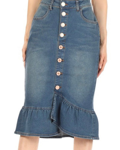 Denim Skirt 77531 Vintage Wash with Ruffle