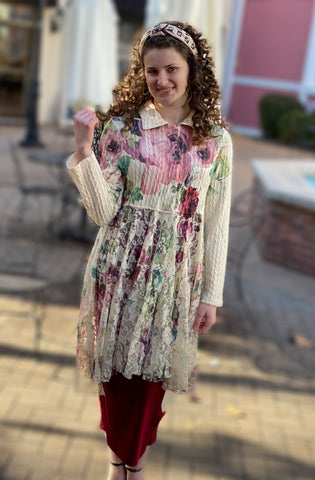 Sweater Lace Cardigan - Big Rose Print