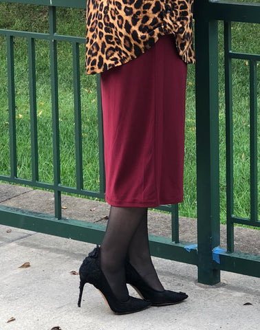 Pencil Skirt -Burgundy