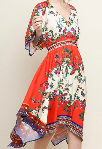 Floral V-Neck Handkerchief Hem Dress