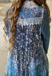 Ivory Lace Vest - Blue Black Imprint
