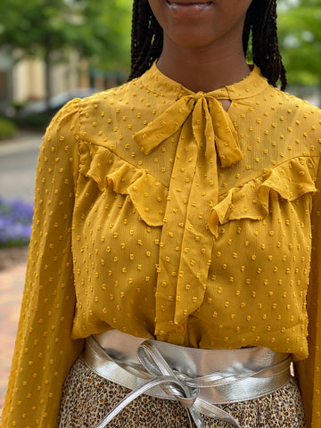 Chiffon Textured Ruffled Top With Neck Tie