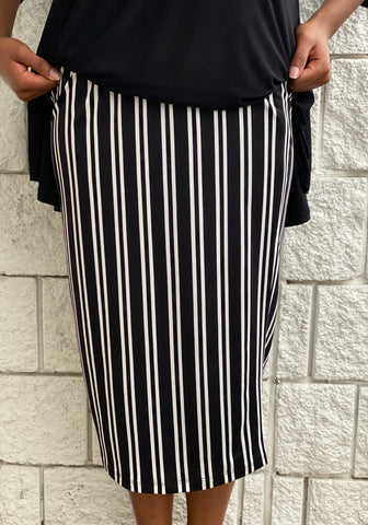 Pencil Skirt - Black Vertical Stripe