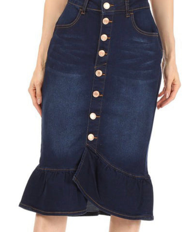 Denim Skirt Dark Indigo with Ruffle