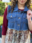 Blue Denim Vest w/Cream Taupe Lace