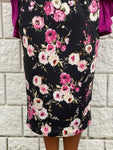 Pencil Skirt - Black Pink Floral