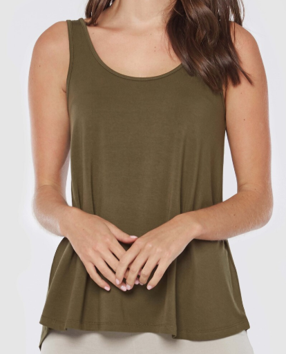 Relaxed Bamboo Singlet- Dark olive