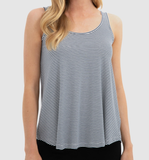 Relaxed Bamboo Singlet- Navy/white stripe