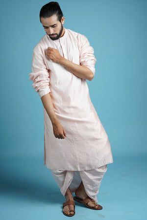 Pink Traditional Kurta & Dhoti Set