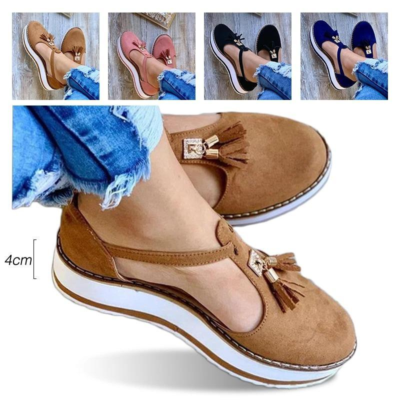 Dr.Care - Women's Casual Platform Flat Comfort Fringe Shoes