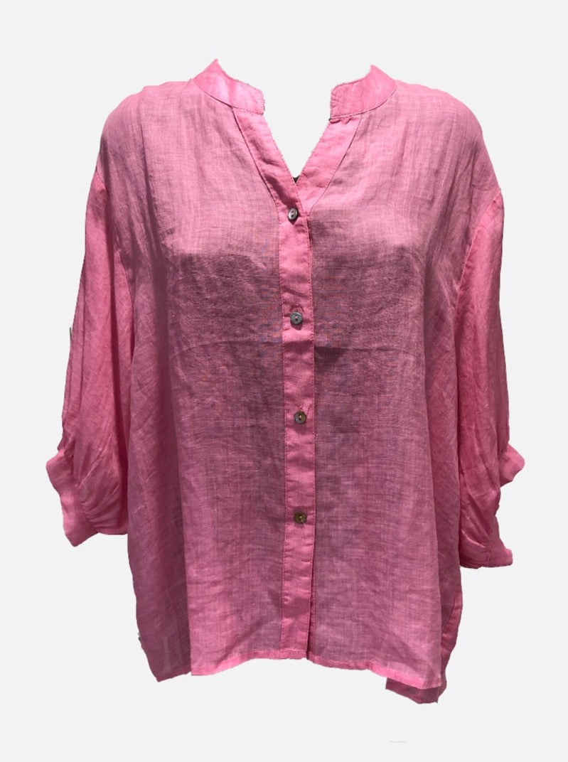 Brylie Linen Button Down 3/4 Length Sleeve Shirt - Pink