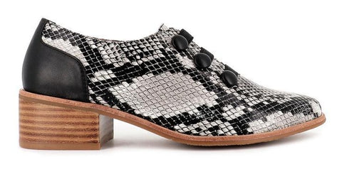 Bresley Decked Block Heel Leather Shoe - Grey Snake