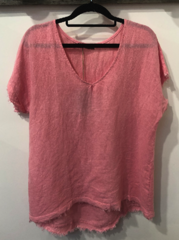 Italian Linen Frayed Edge Top - Pink