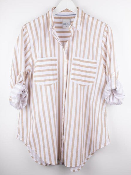 Hut Clothing Cotton Poplin Boyfriend Shirt - White with Taupe Stripe