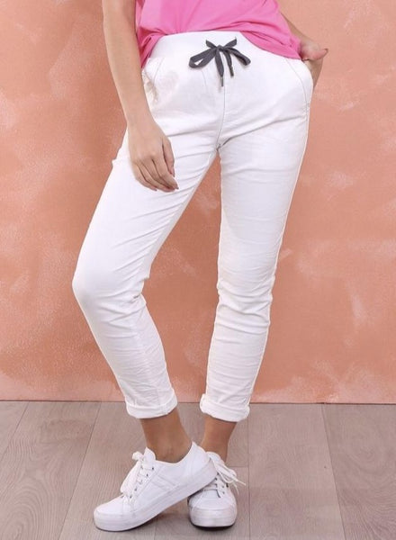 Riley Denim Jogger Jean Relaxed Fit - White