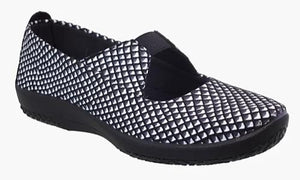 Leina Arcopedico Mary-Jane Style Shoe - Black / White Diamond