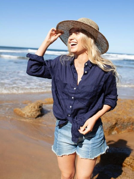 Hut Clothing Linen Boyfriend  Shirt - Navy