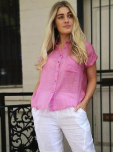 Linen Button Down Short Sleeve Shirt with collar - Pink