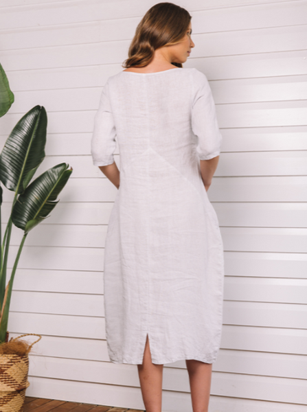 Florence Maxi Dress with Pockets Italian Linen - Grey