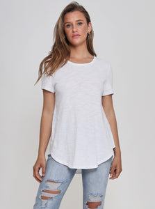 Hudson Curved Scoop Neck Cotton Tee - White