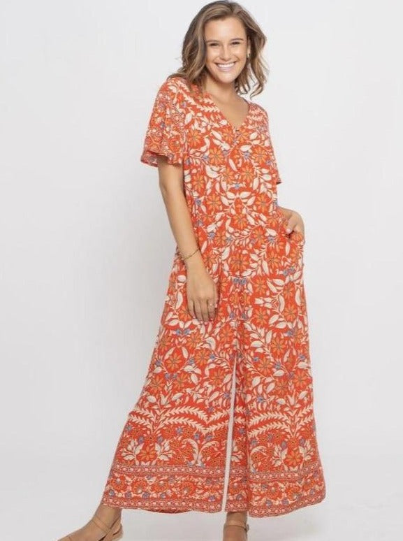 Jewel Jumpsuit - Red Floral