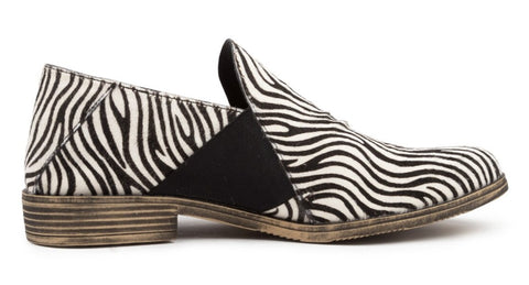 Django & Juliette Kefect Leather Shoe - White Zebra Pony Hair