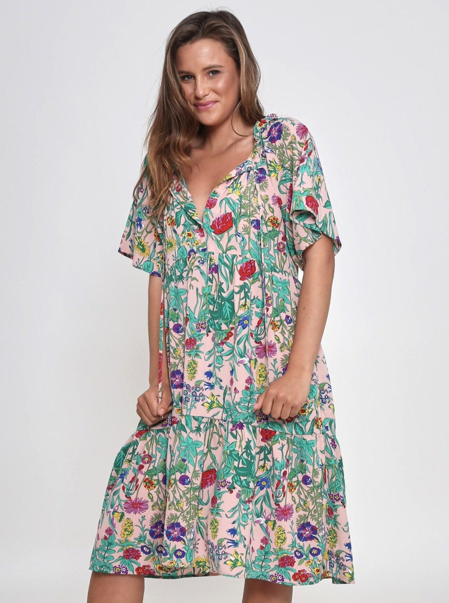 Maddie Floral Knee Length Dress - Green Floral