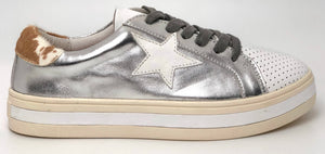 Alfie & Evie Pixie Leather Sneaker - Silver / White