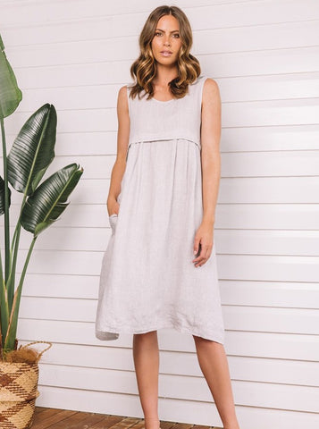 Turin Linen Dress with Pocket - Silver