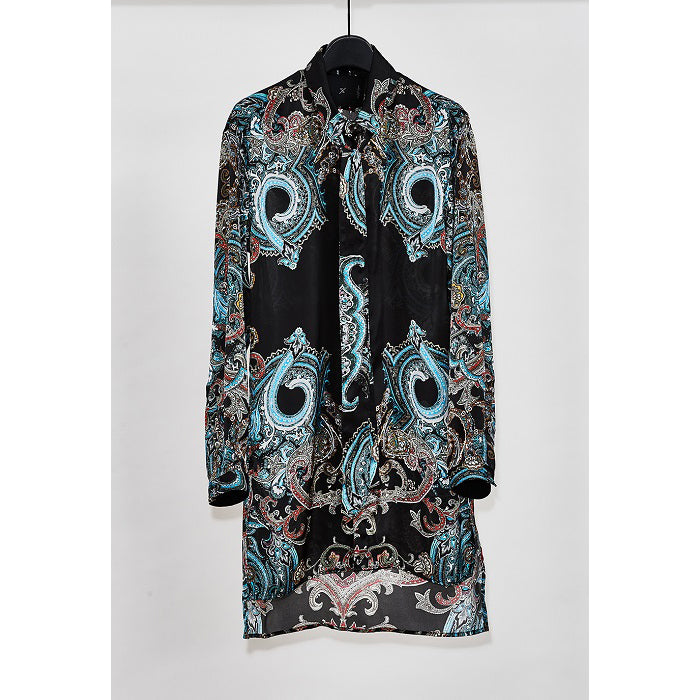 YS Yuji SUGENO 【予約商品】Paisley Panel Print Semi-Long Shirt / BLACK
