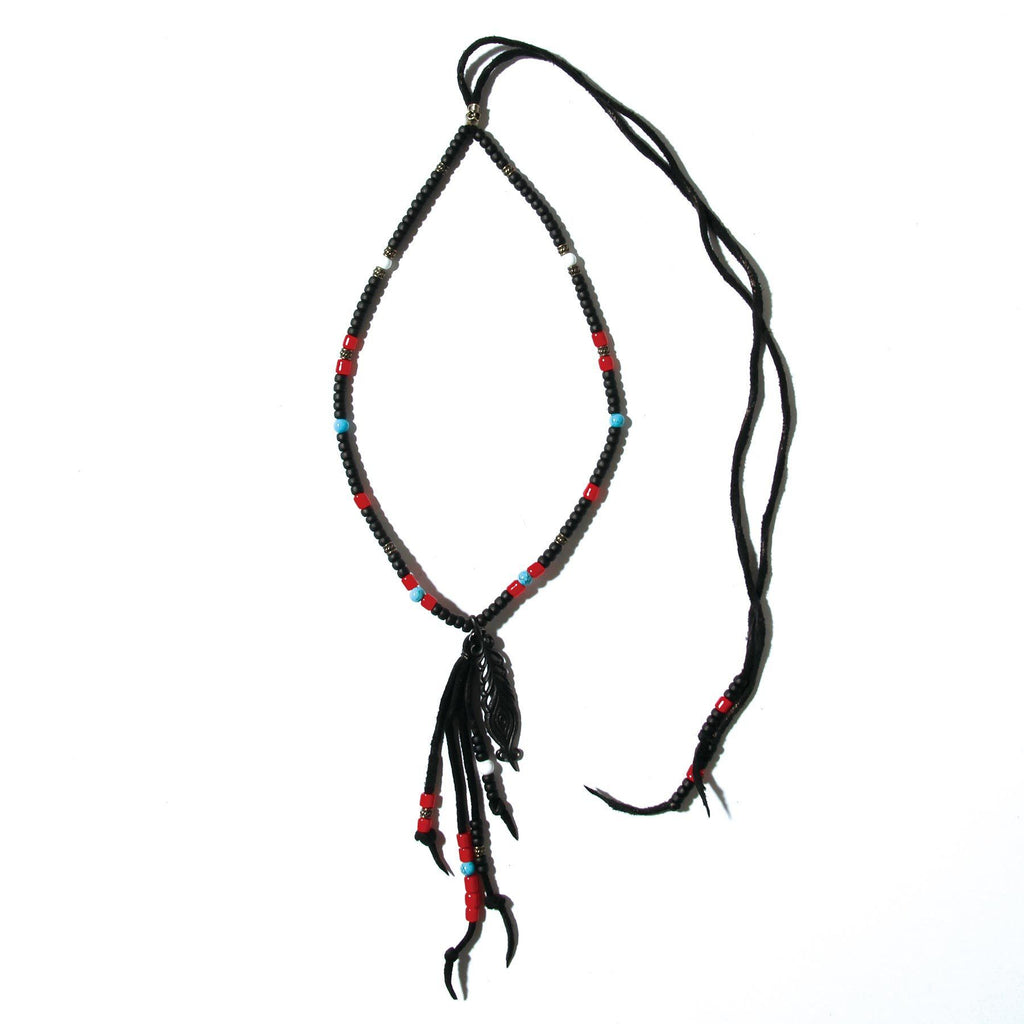 Peacock Feather Beads Necklace / BLACK