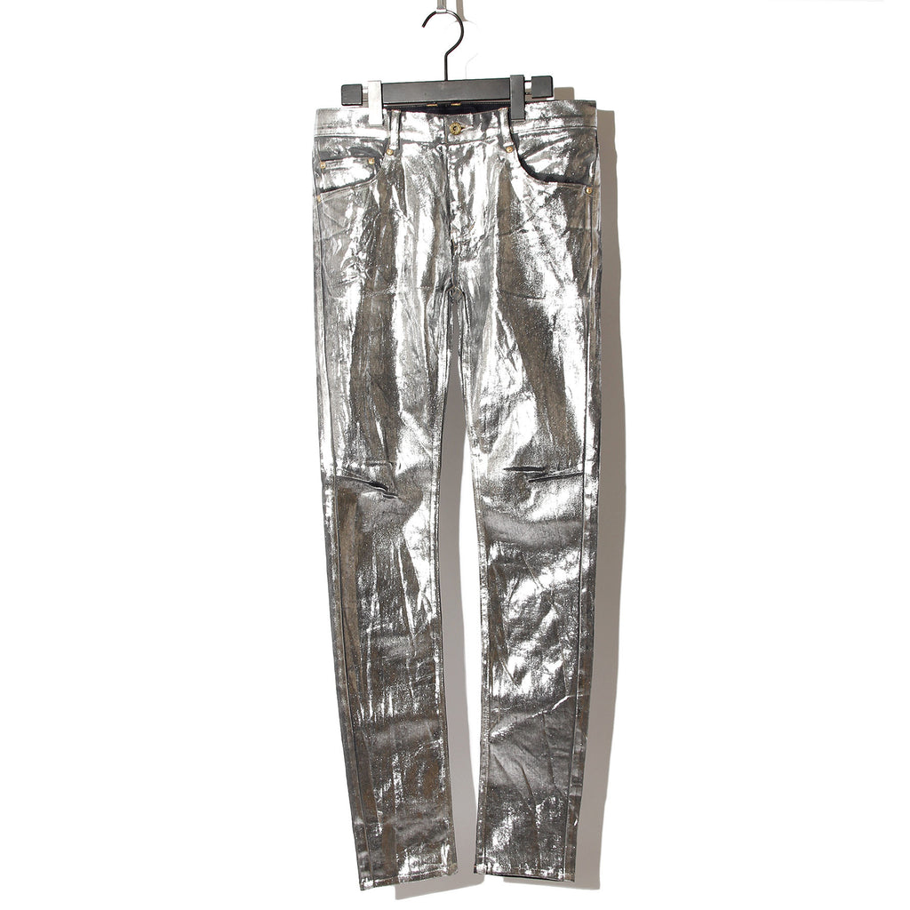 Silver foil Stretch denim 5P Skinny Denim / SILVER